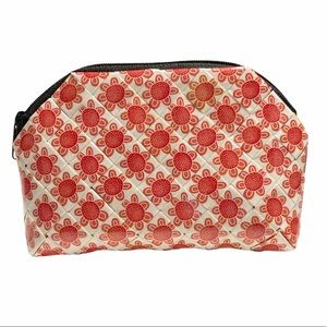 Handmade Wallet Pouch Orange Flowers Curved Top Multi Use Make Up Case